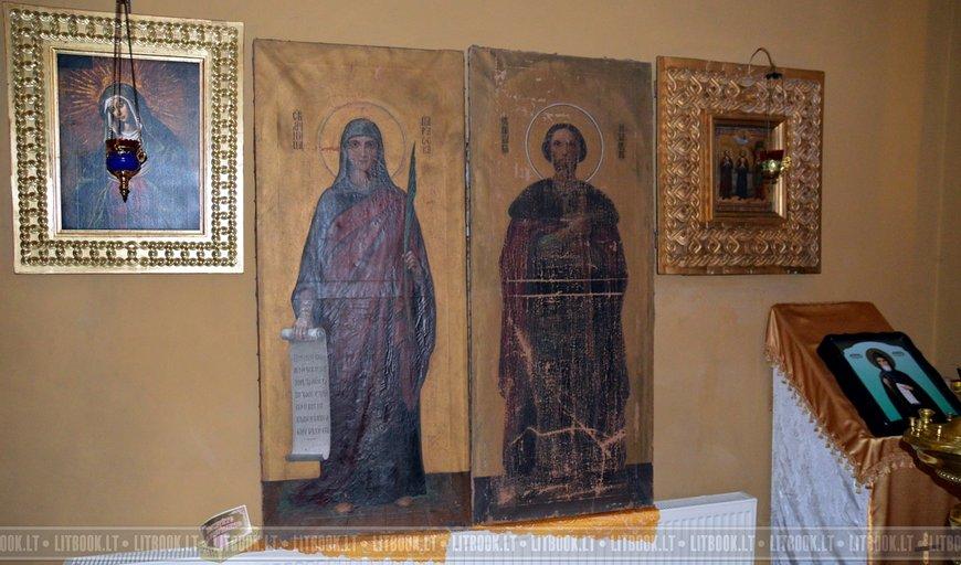 Старинные иконы святой Параскевы и святого Александра Невского