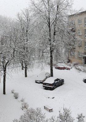 снегопад 5 апреля Вильнюс