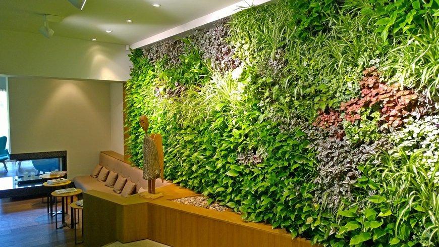 """Уникальное """"живое панно"""" в холле. Для его оформления использовано более 1400 горшечных растений!"""